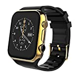 Apple Smart Watches Best Deals - Scinex SW20 16GB Bluetooth Smart Watch GSM Phone for iPhone and Android - US Warranty (Gold/Black)