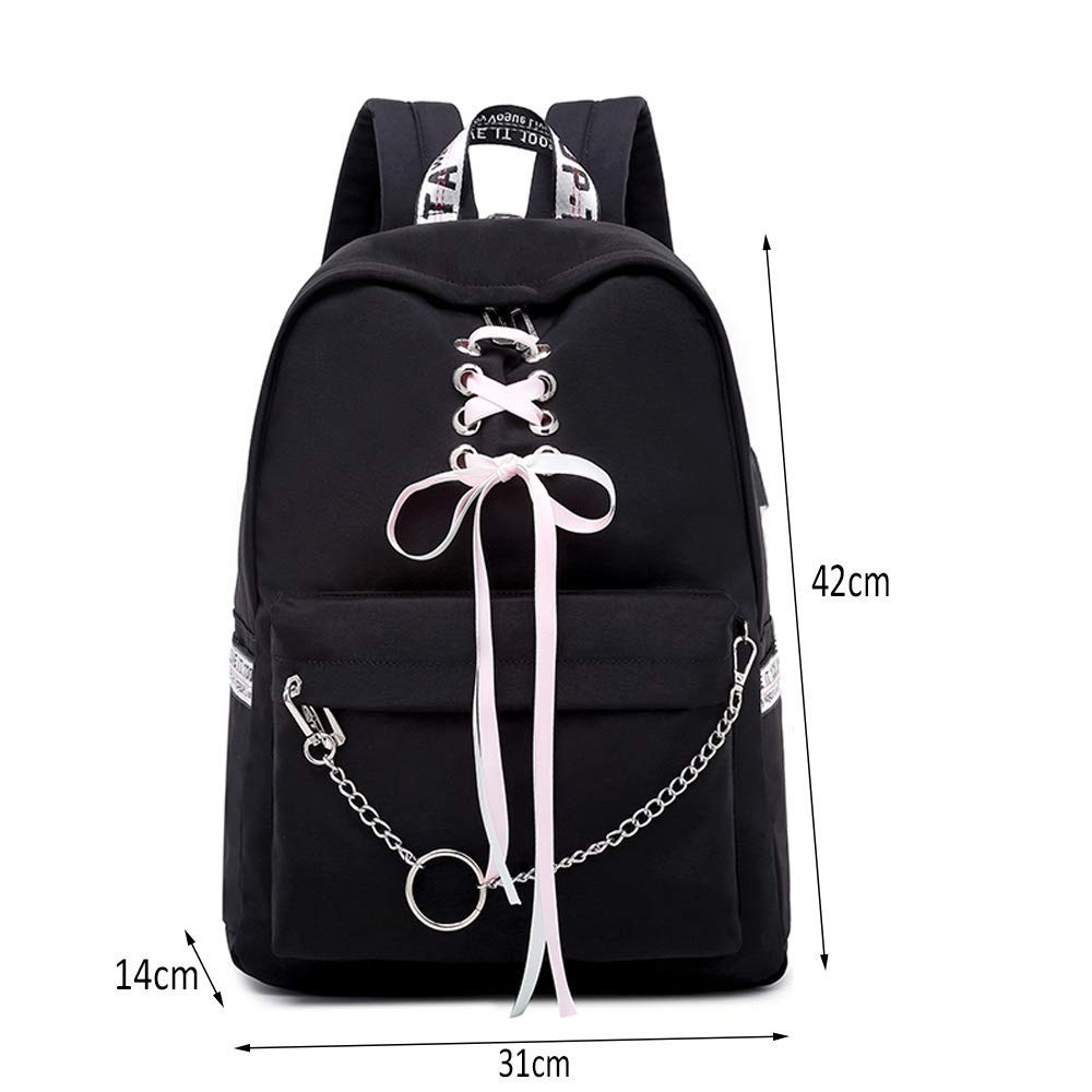 New Multi-Functional Simple Large-Capacity backpack Female Student Bag College backpack Girl Multi-Function backpack Black 42 14 31 cm