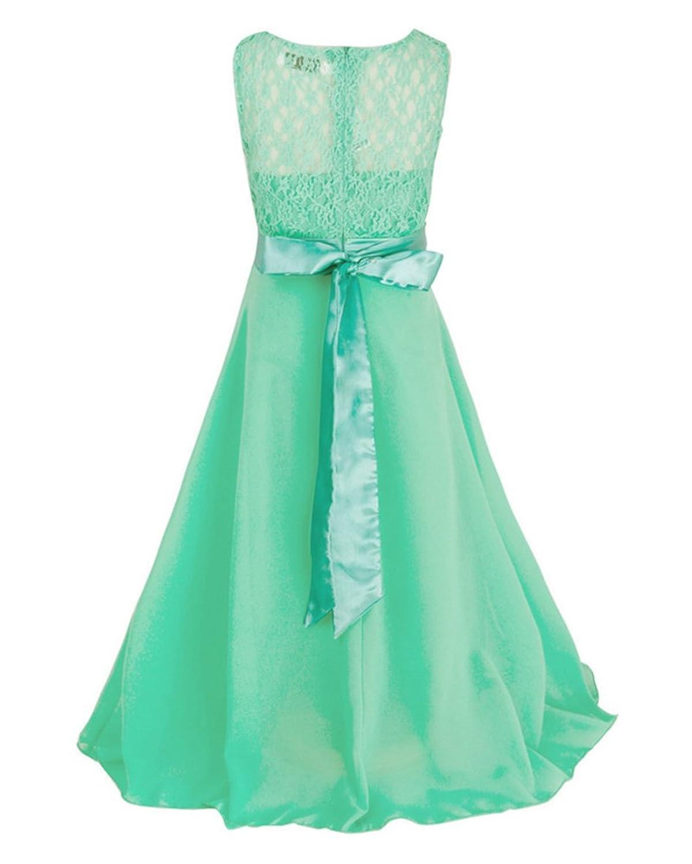LaoZan Mädchen Ärmellos Tüllkleid Lange Prinzessin Kleid Hochzeit ...