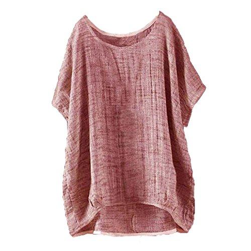 Manches Chemisier Shirt Casual Womens Rouge lache Souris Coton Chemise Top 5XL Juleya T Casual en Courtes Chauve Lin Mince Pull Section S ZC8Tdwq