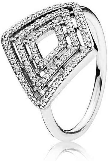 Authentic 100/% 925 Sterling Silver Geometric Lines CZ Necklace 60cm//23.6