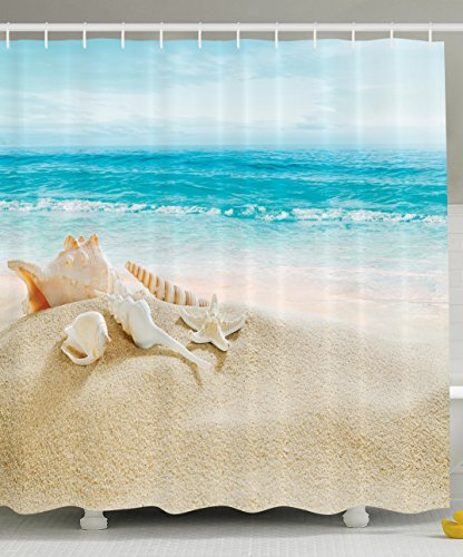 Ambesonne Ocean Shower Curtain with Hooks, Starfish Seascape Sea Beach Picture Print, Bathroom Set Fabric, Blue Sand and White