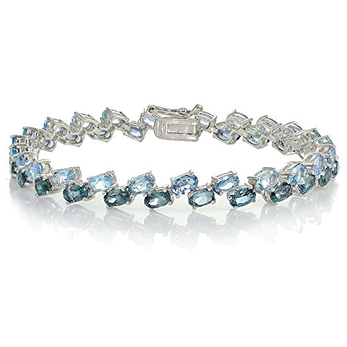 Sterling Silver London Blue Topaz and Blue Topaz 2-Row Bracelet by Ice Gems