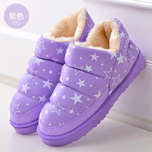 pantofole pantofole Winter viola2 pantofole paio home donne Star e Snow di calde e scarpe uomini dense pantofole di cotone DogHaccd Boots Uq50fgU