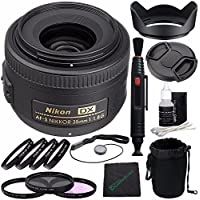 Nikon AF-S DX NIKKOR 35mm f/1.8G Lens + 52mm 3 Piece Filter Set (UV, CPL, FL) + 52mm +1 +2 +4 +10 Close-Up Macro Filter Set with Pouch + LENS CAP 52MM + 52mm Lens Hood + Cloth Bundle