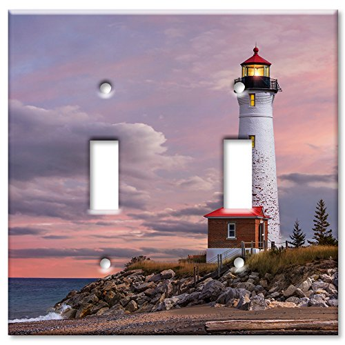 Art Plates Brand Double Toggle Switch / Wall Plate - Lighthouse Of MI ()
