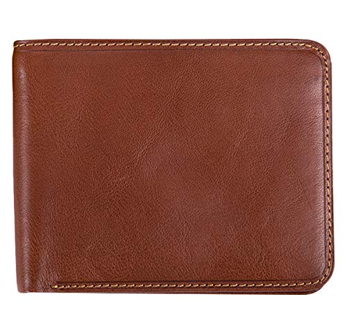 Tony Perotti Mens Italian Cow Leather Classic Bifold Wallet with ID Window in Cognac