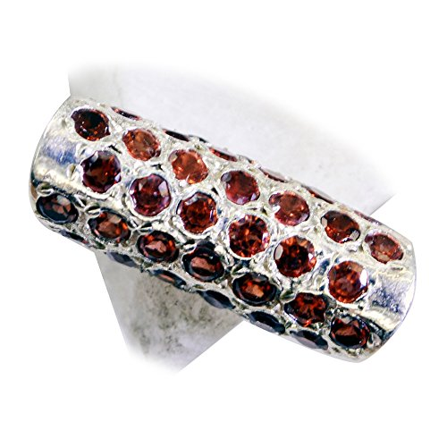- Genuine Garnet Silver Engagement Ring Cluster Setting Round Stone Jewelry In Size 5,6,7,8,9,10,11,12