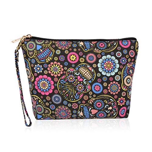 (Cute Print Cosmetic Bag - Travel Makeup Organizer Message Pouch Toiletry Wristlet Purse Inspirational Quote/Sugar Skull/Mascara/Pineapple (Sugar)