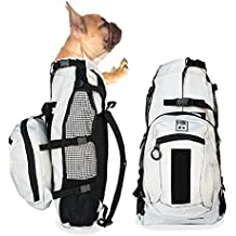 K9 Sport Sack AIR PLUS | Dog Carrier Backpack For Small and Medium Pets | Front Facing Adjustable Pack With Storage Bag | Fully Ventilated | Veterinarian Approved (Medium, Light Grey)