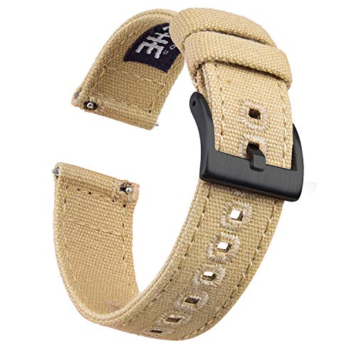 Ritche Canvas Quick Release Watch Band 18mm 20mm 22mm Replacement Watch Straps for Men Women (Khaki/Black, 20mm)