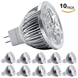 Dimmable LED MR16 Light Bulb, 60° Spotlight for Recessed, Track, Accent Lighting, 12V Low Voltage, 4W (50W Halogen Equiv.), GU5.3 Bi-pin Base, Warm White 3200K, Pack of 10