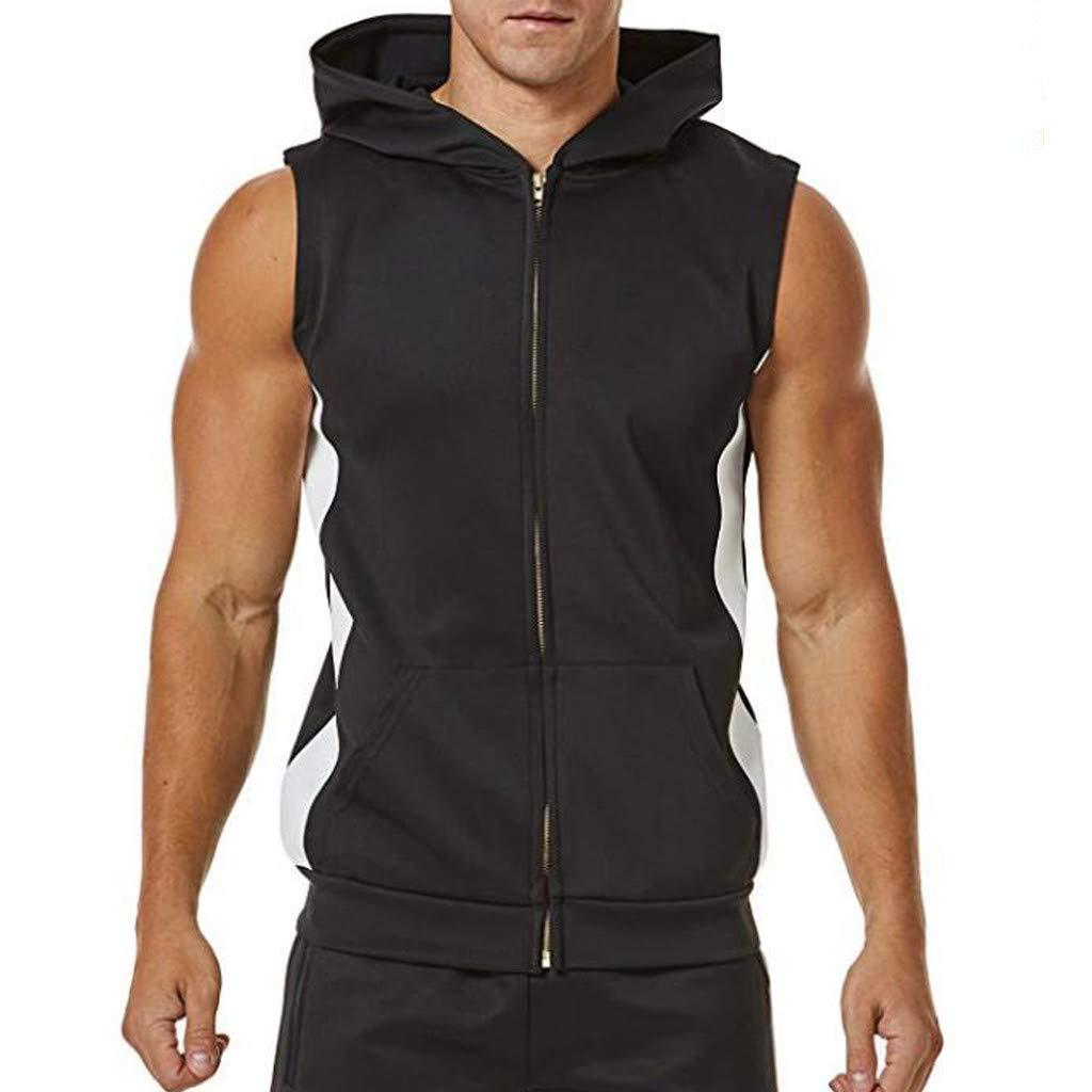 Men Sports Vest Zipper Splicing Striped Shirt Open-Forked Male Workout Hooded Tank Tops with Pocket (L, Black)