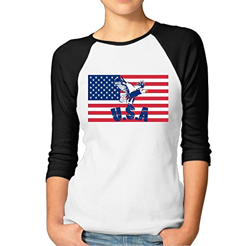 (MYDT1 Women's USA Eagle Flag 3/4 Sleeve Baseball T Shirts/Short)