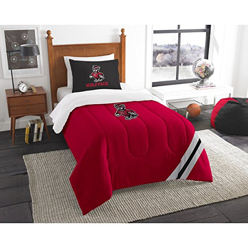 Nc State Wolfpack 2 Piece - 2 Piece NCAA COL NC State Wolfpack Raleigh Twin Comforter Set, Red Black, Sports Patterned Bedding, Featuring Team Logo, NC State Merchandise, Team Spirit, College Football Themed, Polyester