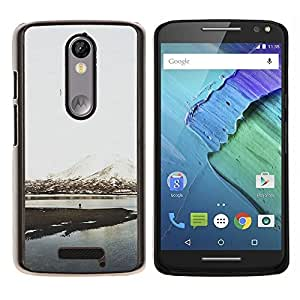 TaiTech / Prima Delgada SLIM Casa Carcasa Funda Case Bandera Cover Armor Shell Wood Texture - Snow Mountain Lake View - Motorola Moto X3 3rd Generation