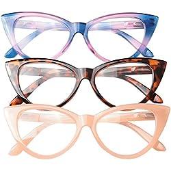 SOOLALA Ladies 50mm Lens Fashion Designer Cat Eye Reading Glasses Customized Strengths, PinkBlueLeo, 2.5