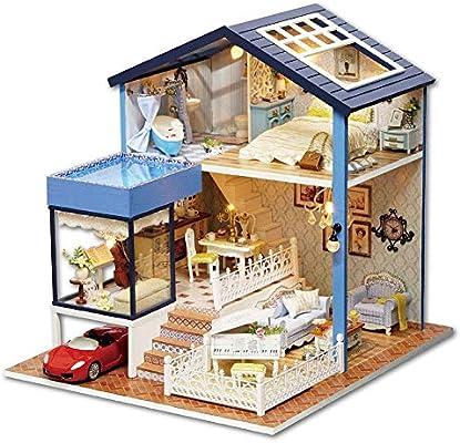 Jadpes Casa de muñecas DIY, Casa de muñecas en Miniatura,Juego de casa de muñecas en Miniatura de Bricolaje, Alta simulación de Bricolaje Casa de muñecas de Bricolaje en Miniatura Hecha a: Amazon.es: