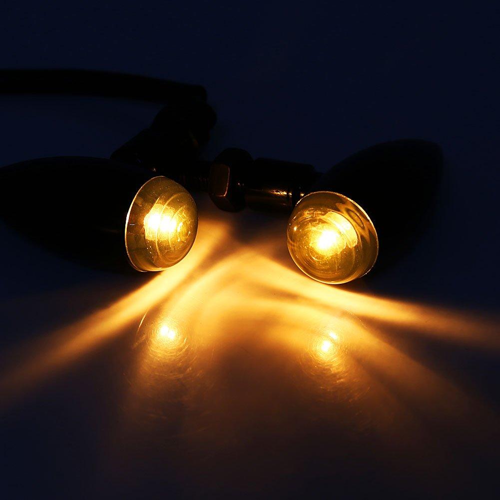 Qiilu 2pcs Motorcycle Bullet Amber LED Turn Signals Indicator Lighting Lamp Black