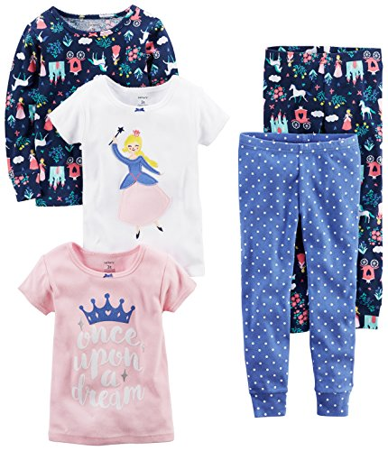 Carter's Baby Girls' 5-Piece Cotton Snug-Fit Pajamas, Princess, 9 Months