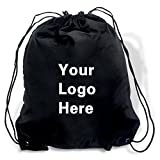 Promotional Drawstring Bag String-A-Sling Backpack- 15'' w x 18'' h flat bag- 100 Quantity - $1.83 Each -Promotional Products Bulk Custom Branded with YOUR LOGO for Free C2BPromo #C2BB0054H-Black