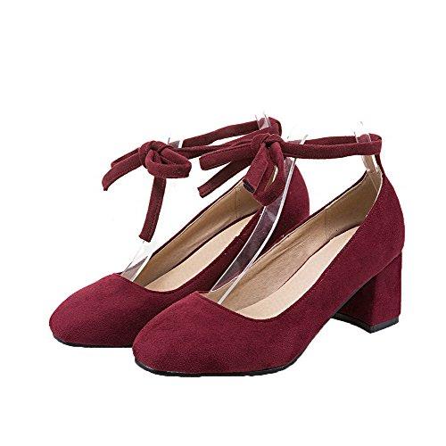 Heels Claret Square Women's Court Toe Shoes up Odomolor Kitten Lace xSqAxz