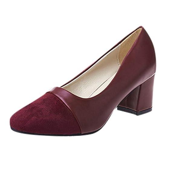 Bestow Zapatos de tacón Alto Cabeza Cuadrada Boca Baja de Mujer Versión Coreana de de Trabajo de tacón Alto a Juego de Color Salvaje: Amazon.es: Ropa y ...