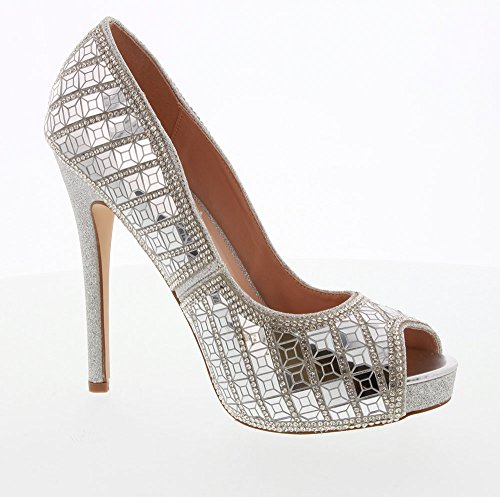 De Blossom Collection Women Eternity Sparkle Rhinestone Embellished Peep Toe High Heel Dress Pump Shoes For Wedding Prom Party Eternity-118 Silver 7rWk4m
