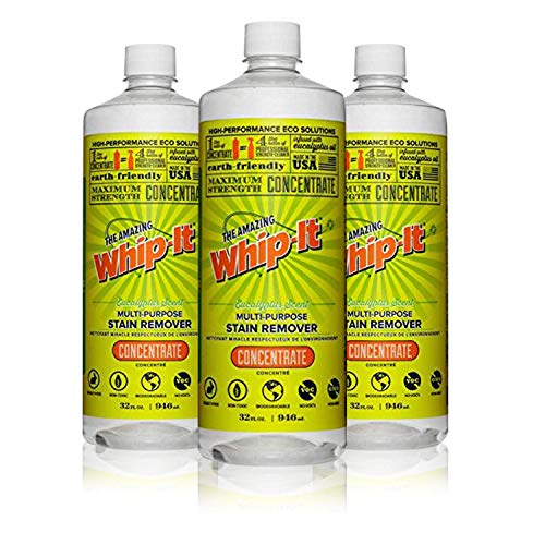 Whip-It Multi-Purpose Stain Remover - 3 Pack - 32oz Concentrate - Plant-Based With All 6 Enzymes - All Natural - Made In -