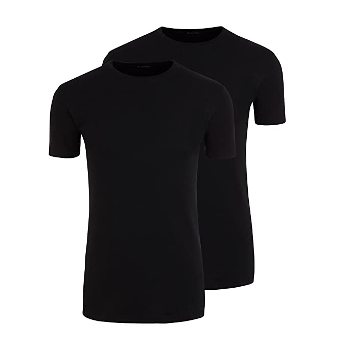 Jockey XXL Camiseta Twin Pack Negra con Cuello Redondo, 2xl-8xl:2XL