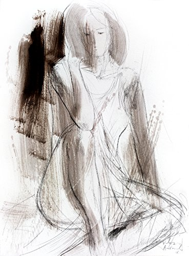 Charcoal drawing Original graphic art sketch Woman Modern Figurative Artistic Wall decor by IvMarART