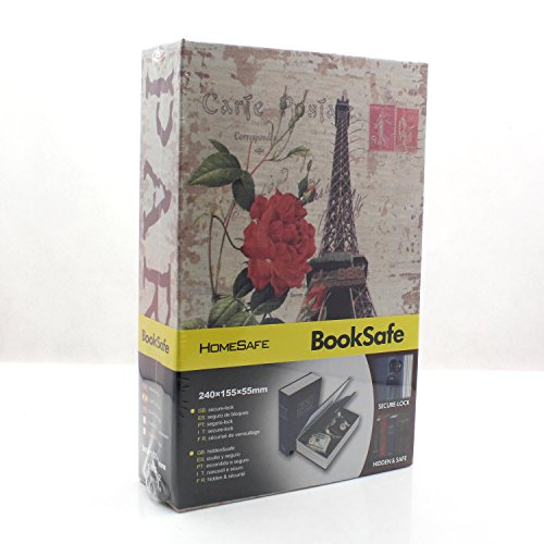 RiipooTM Big Size Colours Dictionary Diversion Hidden Book Safe With Strong Metal Case inside and Key Lock Size 24011555mm Eiffel Tower