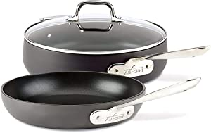 All-Clad E7859164 HA1 HA1 Hard Anodized Nonstick Dishwasher Safe PFOA Free 4-Quart Saute w/ lid & 10-Inch Fry pan Cookware Set, 3-Piece, Black