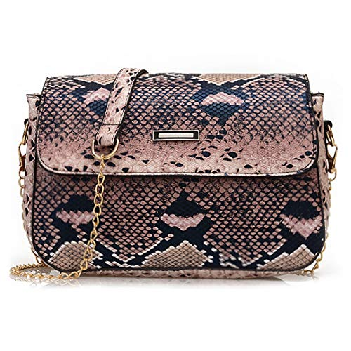 Rebecca Women's Snakeskin Clutch Bag Purse Flap Crossbody Handbags Retro Shoulder Messenger Chain Bags