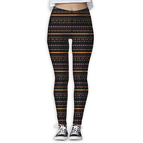 Halloween Borders Clip Art Women's Tummy Control Sports Running Yoga Workout Leggings Pants M