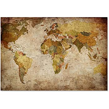 Amazon xlarge canvas prints world map oversized wall art xlarge canvas prints world map oversized wall art vintage modern giclee artwork brown abstract pictures large gumiabroncs Gallery