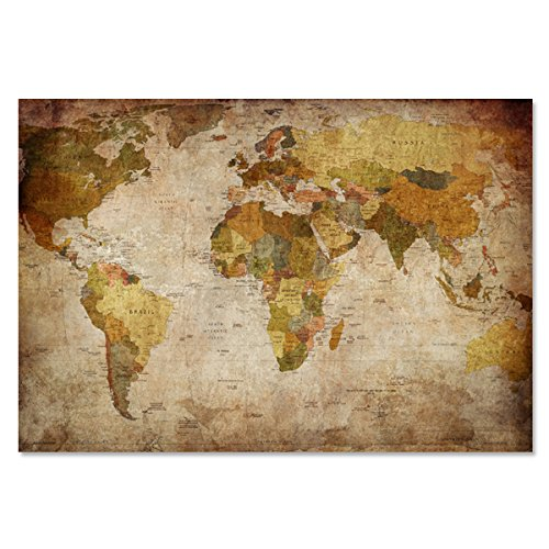 Canvas Prints World Map Wall Art Antiquated Vintage Style Mo
