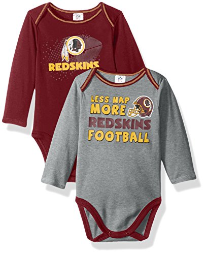 NFL Washington Redskins Unisex-Baby 2-Pack Long-Sleeve Bodysuits, Red, 3-6 Months