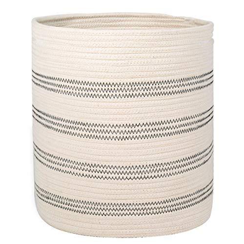 INDRESSME Woven Storage Basket Cotton Rope Basket with Handle for Laundry Baby Nursery Blanket Toy Storage Soft Basket Stripes Design- Natural Home Decor Cylinder Basket, 14 x 12