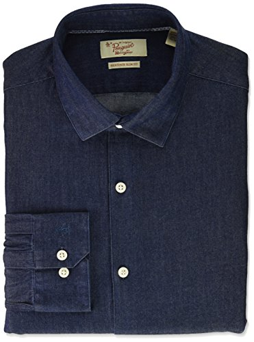Original Penguin Men's Slim Fit Performance Dress Shirt, Indigo, 14.5 32/33 by Original Penguin