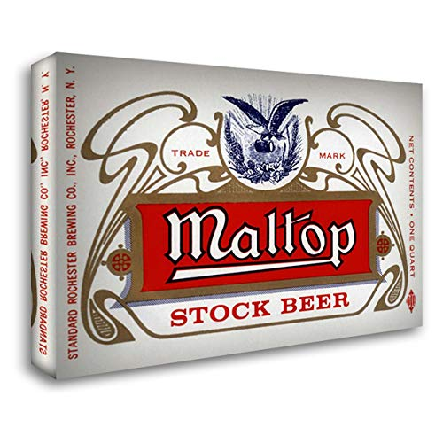 Maltop Stock Beer - Maltop Stock Beer 37x28 Gallery Wrapped Stretched Canvas Art by Vintage Booze Labels