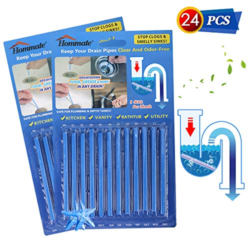 - Drain Sticks Drain Stix Drain Cleaner & Deodorizer Sticks Drain Deodorizer Sticks for Clog Odor Unscented Non-Toxic for Kitchen Bathroom Sinks Pipes Septic Tank Safe As Seen On TV (Blue, 24pcs)