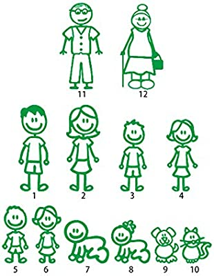 12 Stick Figure Family Your Stick Figure Family Pet Cat Dog Stickers for Car Windows Bumper Phone Notebook Vinyl Decal Green