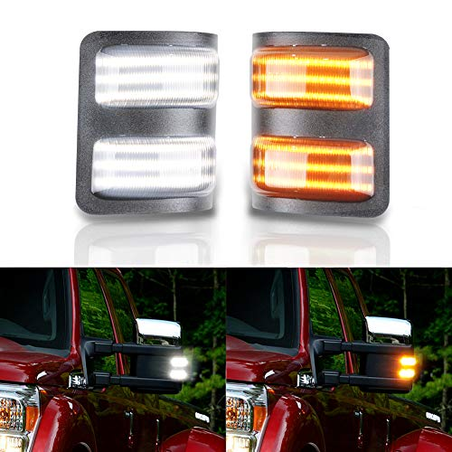 GemPro 2Pcs Switchback LED Side Mirror Marker Turn Signal Light For 2008 to 2016 Ford F250 F350 F450 F550 Super Duty, Smoke Lens Style Black ()