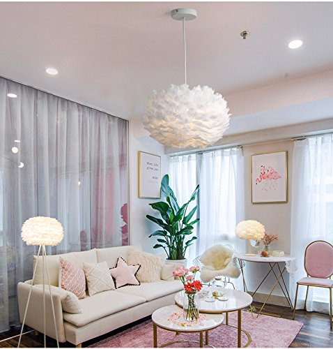 White Feather Ceiling Pendant Light Shade, Large Size 16 Inch Simple Luxury White Feather Ball E27 Lampshade Floor Lamp Decorative Droplight Shade for Living Room Bedroom by LOVFASHION (Image #2)