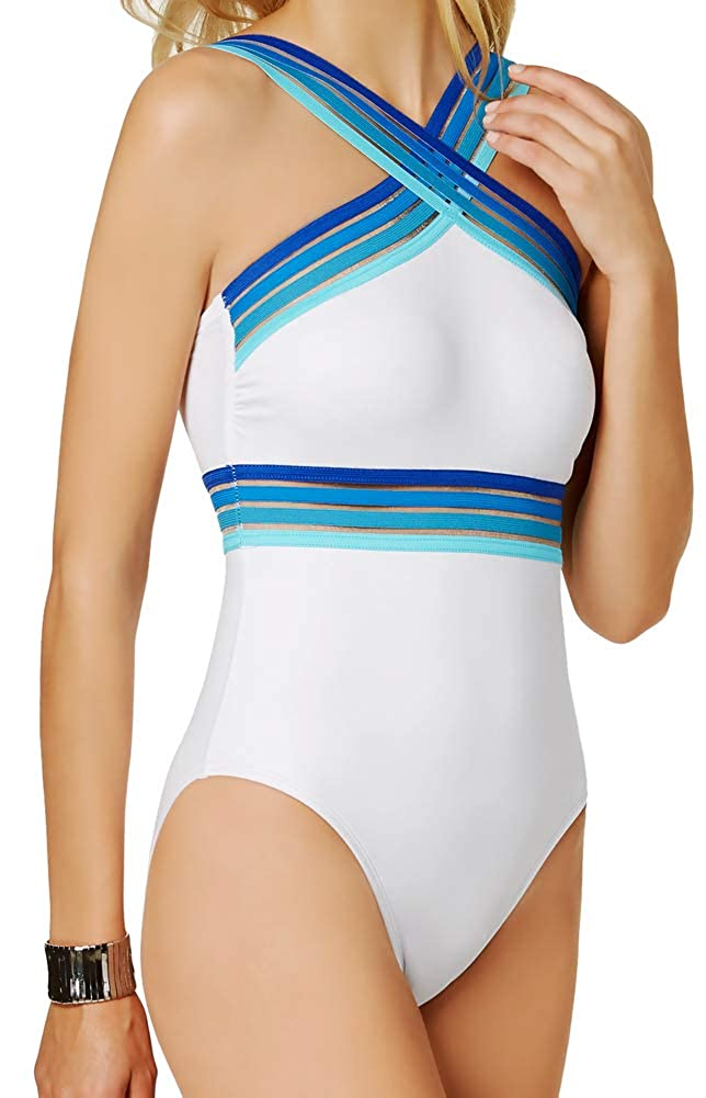 a8b95815cae9b Kenneth Cole REACTION One Piece Swimsuit Mesh Illusion Ombre Striped High  Neck Strappy Maillot White Blue S at Amazon Women's Clothing store: