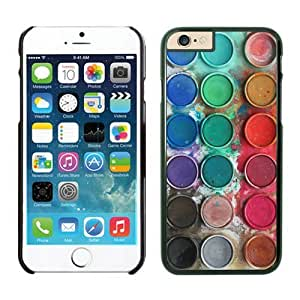 Iphone 6 Case 4.7 Inches, Personalized Black Cell Phone Protective Cover Case for Apple Iphone 6 Watercolor Sets With Brushes