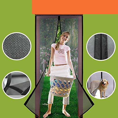 Homearda Magnetic Screen Door Fiberglass-New 2019 Upgraded Magnets& Strengthen Top Never Ripped-Durable Fiberglass Mesh Curtain with Weights in Bottom-Full Frame Magic Seal. Fits Door Up to 34x82 inch (Of Building Patio In Screened Cost)