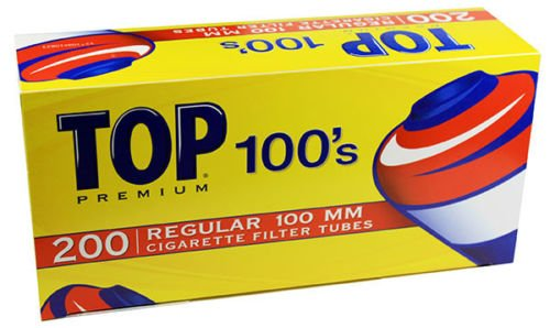 Top Regular Full Flavor Red RYO Cigarette Tubes - 100mm 200ct Box (50 Boxes) by TOP
