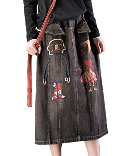 - YESNO Y12 Women Lovely Denim Skirt Cartoon Embroidered Elastic Waist 'A' Line/Pockets